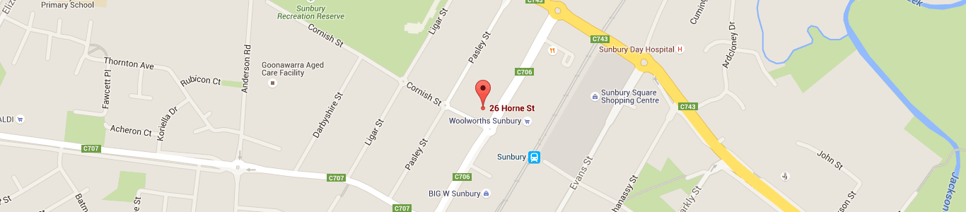 Map of Sunbury Foot Clinic location in Sunbury Victoria